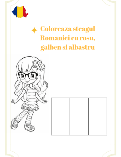 Romania for kids coloring page flag