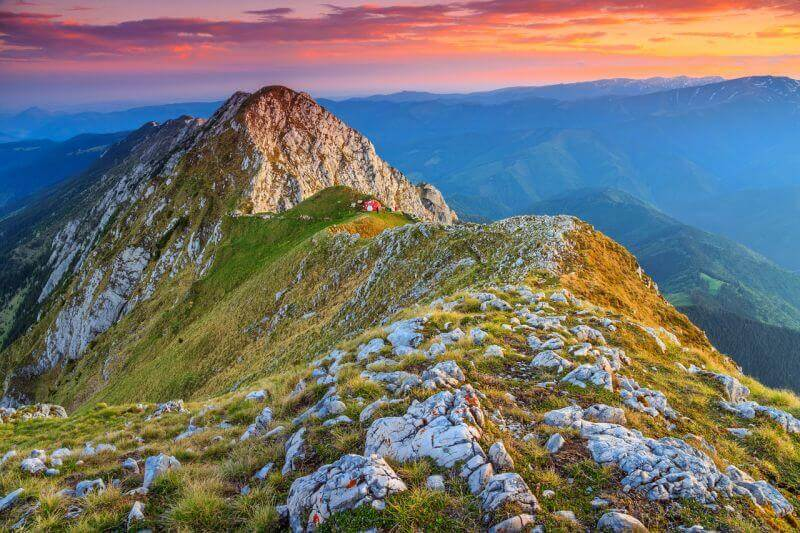 Piatra Craiului ridge, the longest limestone ridge in the Carpathian Mountains