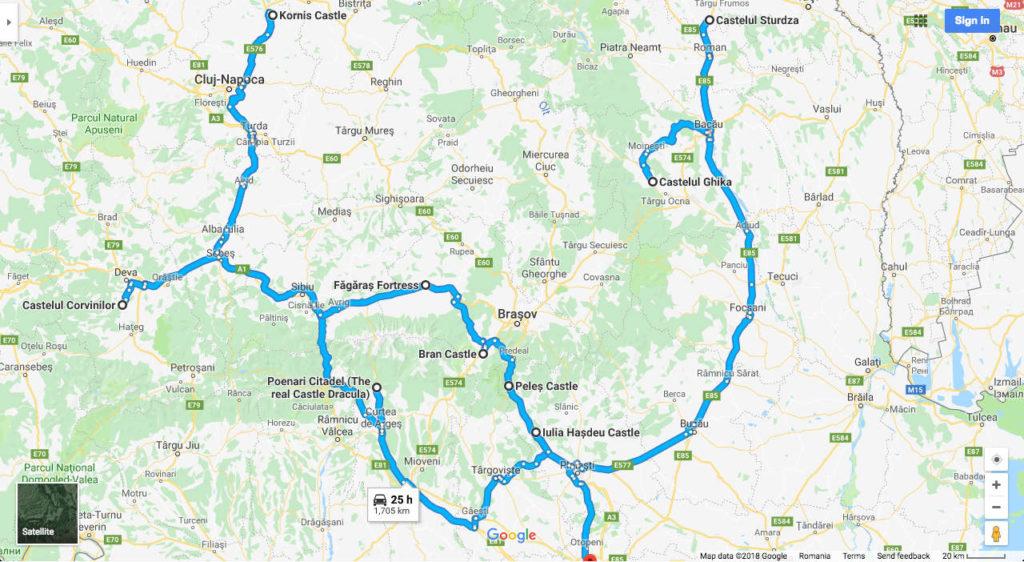 Romanian castles map details
