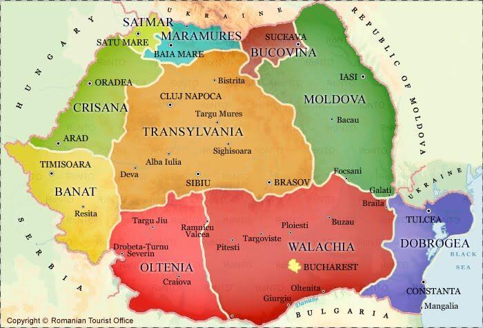 get to Transylvania map