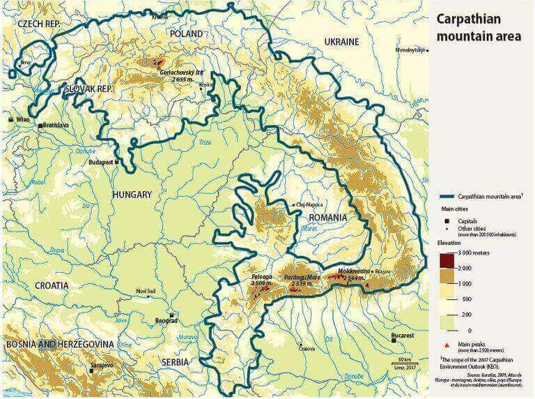 Carpathian Mountains range