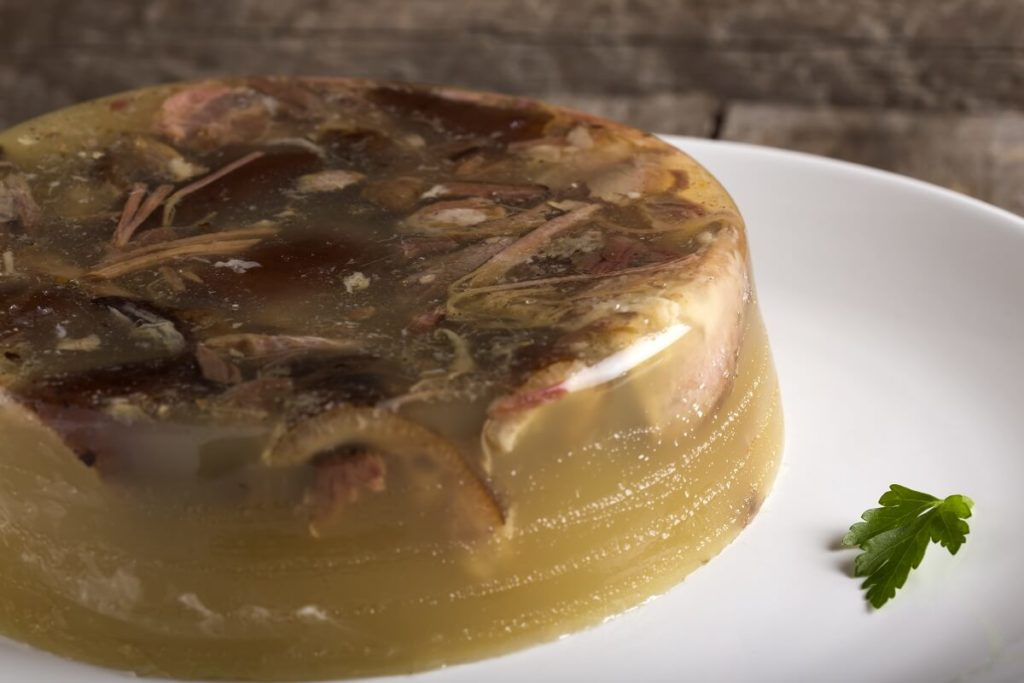 Romanian food for Christmas pork aspic with garlic