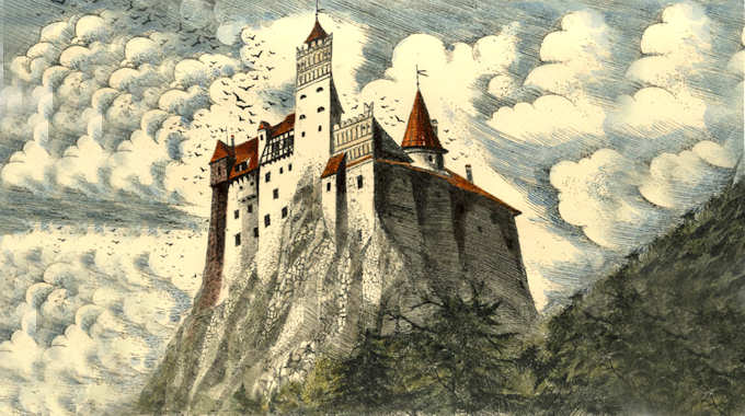 Romanian castles Bran Castle drawing